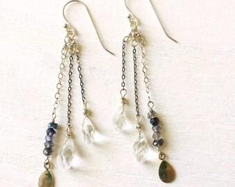 Faceted Quartz Earrings / Sterling Silver Quartz Earrings / Long Dangle Quartz Earrings / Quartz Drop Earrings / Silver Dangle Earrings