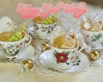 Tea Party Set / Vintage Tea Set / Tea Set for Four / Green Tea Set / Baby Shower Tea Party / Bridal Shower Tea Party / Birthday Tea Party