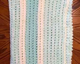 Hand-crocheted, variegated heirloom baby blanket