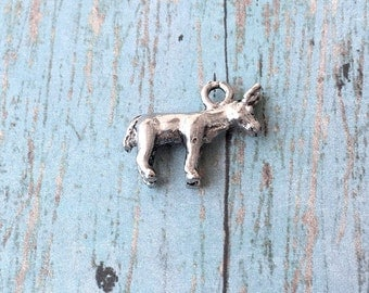 Donkey charm 3D pewter (1 piece) - silver donkey pendant, burro charm, mule charm, farm animal charm, western charm, country charm, Box 98
