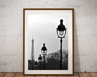Fine ART Print of Paris  -  The Eiffel Tower Photo in Black and White Street View Picture Poster France