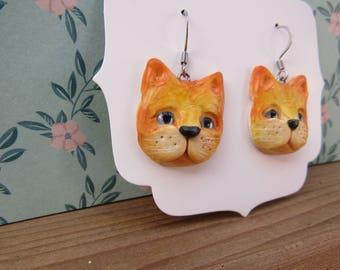 orange kitty earrings, smaller