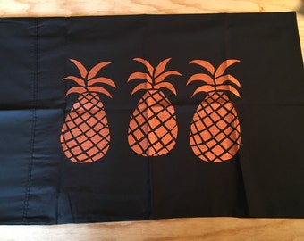 Copper Pineapple Pillowcase - Hand Screen Printed