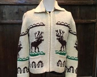 Cowichan  Alaska deer motif sweater