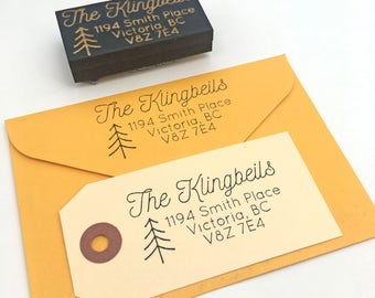 Personalized address stamp, Custom modern minimal return address rubber stamp. Housewarming gift. Wedding gift idea. Made in Canada.