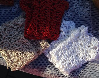 READY TO SHIP Wrist Warmers in cotton/viscose, Bridal, Easter, Party, ready made or made to order in any colour