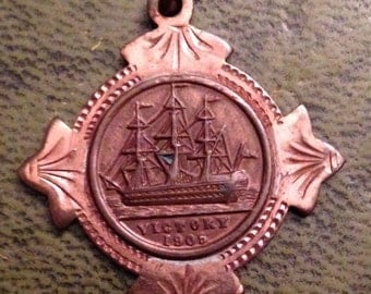 Rare  Admiral Nelson Medal 1905  Victory Copper