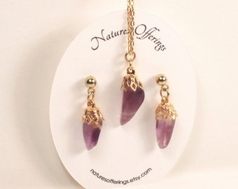 Amethyst Earrings and Necklace Set, Valentine Gift