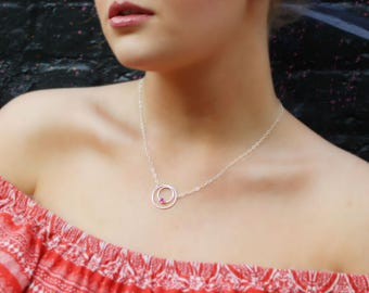 Gemstone Double Circle Eternity Necklace (Gold Sterling Silver Rose Gold Birthstone Birthday Gifts Under 50)