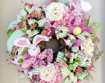 Easter Wreath -Deco Mesh Wreath- Front Door Wreaths- Spring Wreath