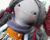 "sweet grey bear lu doll - 14""ish handmade linen and cotton doll with soft grey hair"