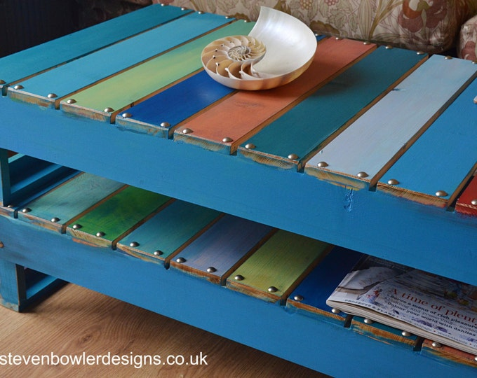 Bespoke Nautical Reclaimed Wood Coffee Table Multicolour Boatwood Style Finish with Silver Tacks Undershelf Storage Handcrafted to Order