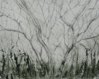 """Original Small 2"""" x 3"""" Drypoint Etching Tree Landscape FREE GIFTWRAP Fine Art  Print by Zinnia Gallery"""