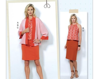 Butterick Sewing Pattern B6464 Misses' Banded Jacket, Notch-Neck Top and Pencil Skirts