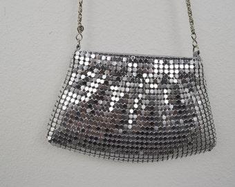 Glamorous SILVER Vintage Small Evening Purse / Handbag / Clutch / Wedding Bride Purse