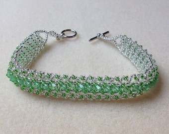 Beaded Swarovski Crystal Bracelet- Light Green- 8 in.