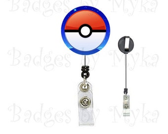 Retractable ID Badge Holder - Pokeman Ball