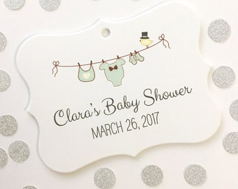 Baby Shower Tags, Baby Shower Tags, Gender Neutral Favor Tags, Favor Tags  (EC-034)