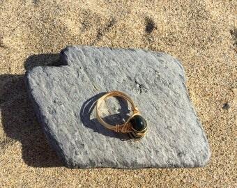 Size Q Fancy Jasper Gemstone wire wrapped ring