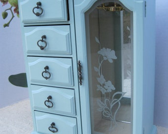 Pretty Painted Wood Jewelry Box with  Etched Glass Door and Drawers