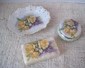 Shabby Chic Rose Bath Vanity Soap Dish, Soap and Trinket Box  by Porcelain Treasures  Betty Platner