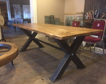 Rustic Industrial Reclaimed Metal 7ft Box X Frame Dining Table Steampunk