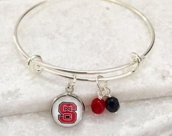 North Carolina State University Bangle Bracelet, NCSU Bracelet, NCSU Jewelry, NCSU Gifts, Wolfpack, Game Day Jewelry, Red and Black