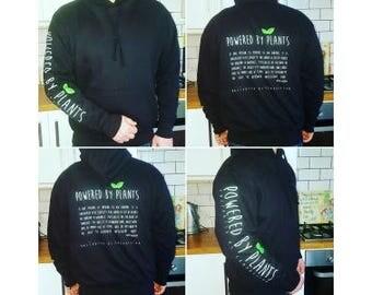 BLACK *!!*Powered By Plants Hoodie*!!* - 'Motivated By Compassion' - Many Sizes Available!