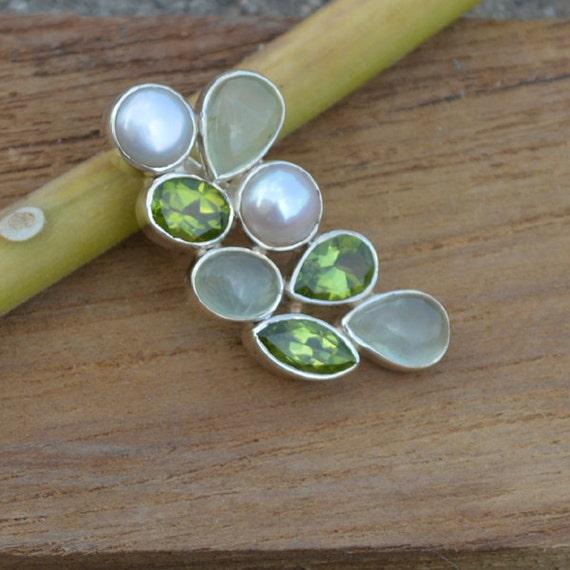 Prehnite, Peridot, South Sea Pearl Pandant,  Multi Stone Pandant,  Unique Gift Pandant Jewelry,  Sterling Silver Necklace