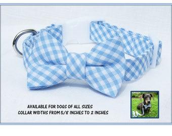 Light Blue Gingham Bow Tie Dog Collar~Wedding Dog Collar~Wedding Dog Attire~Dog Wedding Collar~Spring Wedding~Garden Wedding~Something Blue