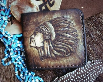 Indian Chief Handmade Leather Wallet Men Womens Wallet Women Leather Bifold Wallet Mens Bifold Wallet Mens Wallet Bifold Leather Wallet