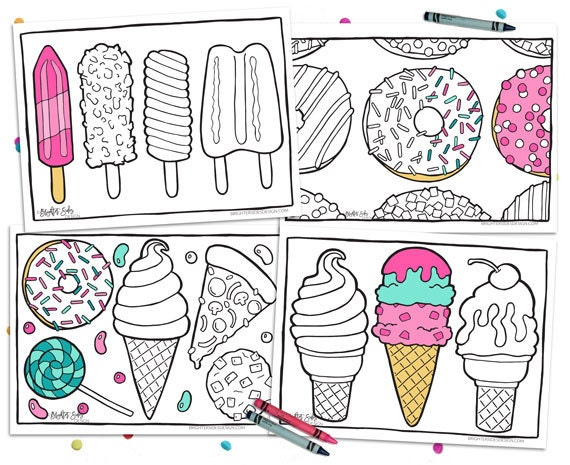 4 Printable Food Coloring Pages Kawaii Adult Coloring