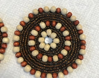 Wooden Wood Beads Appliqué. Natural Wood trims, Sold by 2 Piece.