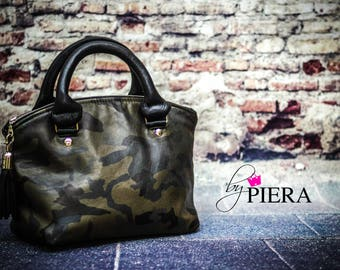 camo leather bag, domed satchel, purse for women, leather handbag, camo leather domed handbag