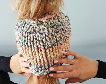 The Naked Bun Hat  - chunky knit hat, messy bun hat,  chunky knit beanie, hipster hat, ponytail hat, jogging hat, knit hat