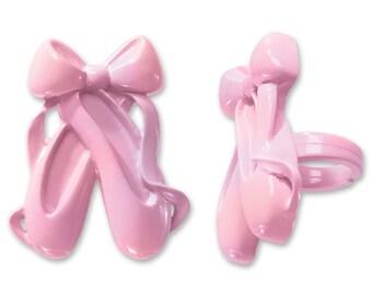 Ballet Slippers Cupcake Rings - 12 Ct
