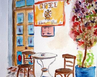 COFFEE - BAR GREECE - unique original watercolor / Greek Islands - travel 2011 - 13.7 x 9.8 in