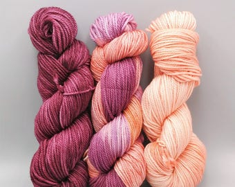 Sangria or Peach Blush {Tonal Yarn} - Heavy Worsted Yarn - Superwash Yarn - Merino/Nylon Yarn - Hand Dyed Yarn - 181 Yards - Indie Dyed Yarn