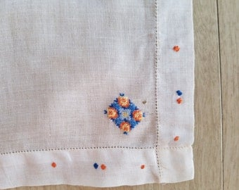 Vintage White Handkerchief Decorated with a Flower Patch and Orange and Blue Dots