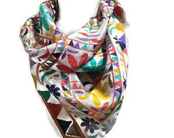 Echo Square Silk Scarf with Rainbow Geometric Floral Print