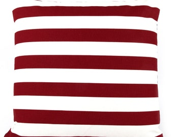 CLEARANCE Red and White Decor Pillow Cover, Patriotic Pillow, July 4th Decor, Stripes Pillow