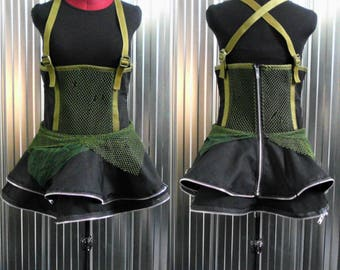 Short strapless dress -Recycled - Handmade - One of a Kind - Post-Apocalyptic -