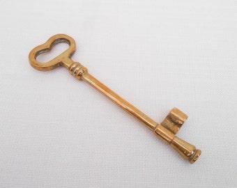 Large Brass Key - Vintage Key - Brass Ornament - Collectible Key - Brass Home Decor - Brass Knicknack, Steampunk Decor - 21st Birthday Key