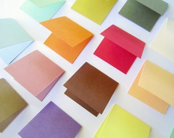 2x2 3x3 4x4 5x5 Inch Colorful Square Fold Cards/ Blank Craft Cards / Fold Note Cards/ Blank fold cards/ Various Sizes set of 20