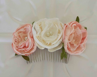 Flower hair comb, ivory and pink satin and lace flower, Bride, Bridesmaid, Flower girl