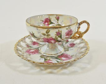Clearance - Royal Sealy China Footed Cup & Saucer, Iridescent - Reticulated w/ Gold Lustre
