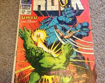 Marvel Comics 12c The Incredible Hulk Comic Book #110