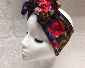 Red Rose & Leopard Print Bow Turban Headband