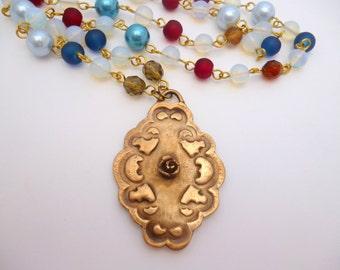 Oval Bronze Pendant Necklace