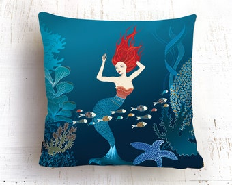 Mirmaid pillow,Mermaid Nursery,  Cushion Covers , underwater pillow ,Decorative Pillow, Throw Pillow , ZIPPER CLOSE, Pillow Covers